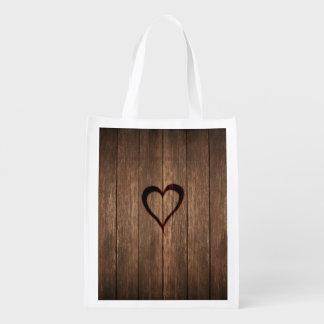 Sacola Ecológica Madeira rústica impressão queimado do coração