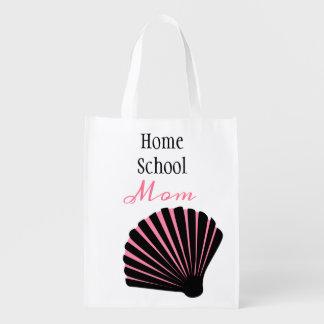Sacola Ecológica Mamã cor-de-rosa e preta de Homeschool do Seashell