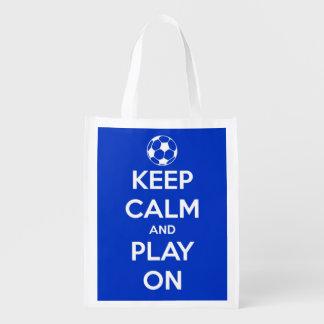 Sacola Ecológica Mantenha a calma e o jogo no futebol azul e branco