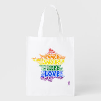 Sacola Ecológica Mapa de France do arco-íris de LGBT ilustrado com