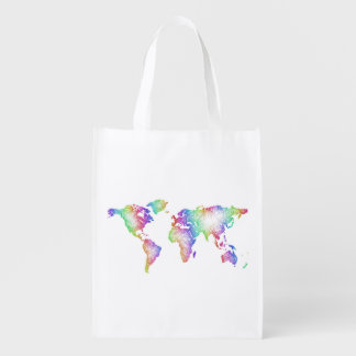 Sacola Ecológica Mapa do mundo do arco-íris