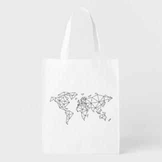 Sacola Ecológica Mapa do mundo geométrico