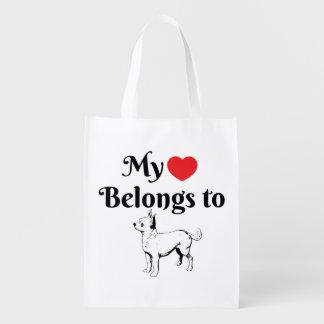 Sacola Ecológica Meu coração pertence a um bolsa da chihuahua