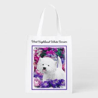 Sacola Ecológica Montanhas Terrier branco ocidentais que pinta a