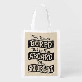 Sacola Ecológica Nunca furado A BORDO de meu SNOWBOARD (preto)