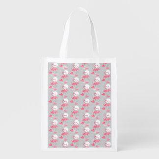 Sacola Ecológica O amor do flamingo telhou o saco reusável