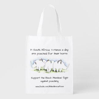 Sacola Ecológica O bolsa do salvamento do rinoceronte