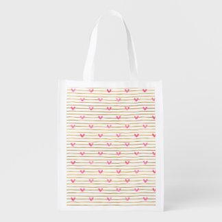 Sacola Ecológica O ouro listra corações cor-de-rosa da aguarela