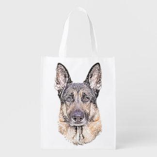 Sacola Ecológica O retrato de um cão de german shepherd esboçou a