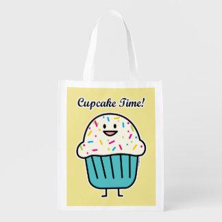 Sacola Ecológica O tempo do cupcake com polvilha o fundente doce da