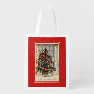 Sacola Ecológica O vintage decorou o vermelho da árvore de Natal