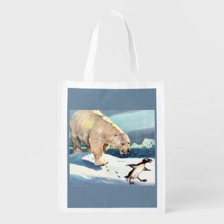 Sacola Ecológica os anos 40 urso polar e pinguim