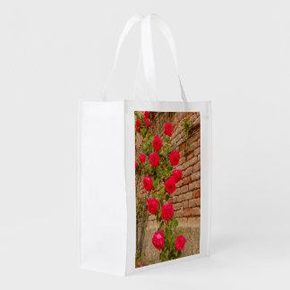 Sacola Ecológica os rosas escalam em uma parede de tijolo no saco