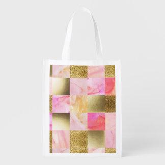 Sacola Ecológica ouro, pastels, cores de água, quadrados, colagem,