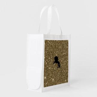 Sacola Ecológica ouro sparkling do unicórnio