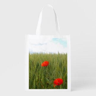 Sacola Ecológica Papoilas em um saco reusável do campo de trigo