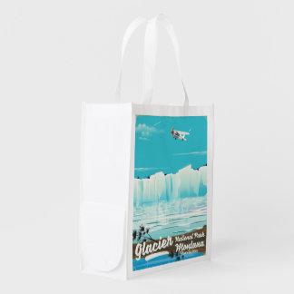 Sacola Ecológica Parque nacional de geleira, poster vintage de