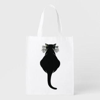 Sacola Ecológica Parte traseira de gato preto gorda
