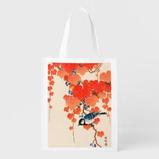 Sacola Ecológica Pássaro de Jay do japonês do vintage e vinha do