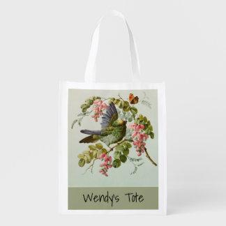 Sacola Ecológica Pássaro verde do vintage e flores cor-de-rosa