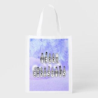 Sacola Ecológica Pessoas da pia batismal da neve do Feliz Natal,