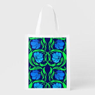 Sacola Ecológica Pimpernel, azuis cobaltos e verde de William
