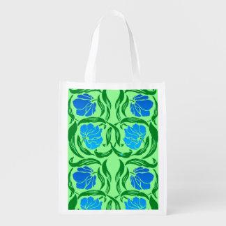 Sacola Ecológica Pimpernel, azul & verde limão de William Morris