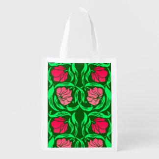 Sacola Ecológica Pimpernel de William Morris, cor-de-rosa e verde