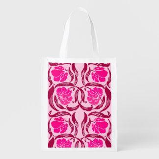 Sacola Ecológica Pimpernel de William Morris, fúcsia & luz - rosa