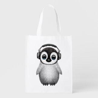 Sacola Ecológica Pinguim bonito DJ do bebê que veste fones de