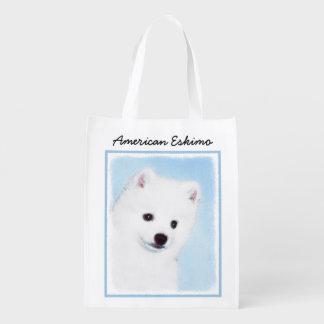 Sacola Ecológica Pintura americana do cão Eskimo - arte original