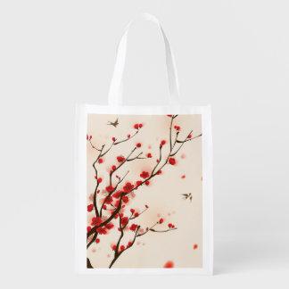 Sacola Ecológica Pintura asiática do estilo, flor da ameixa no