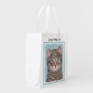 Sacola Ecológica Pintura cinzenta do gato de gato malhado - arte