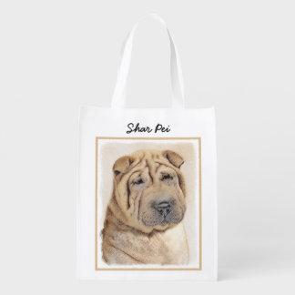 Sacola Ecológica Pintura de Shar Pei - arte original bonito do cão