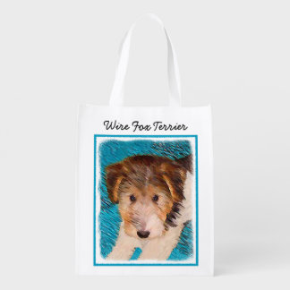 Sacola Ecológica Pintura do filhote de cachorro do Fox Terrier do