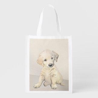 Sacola Ecológica Pintura do filhote de cachorro do golden retriever