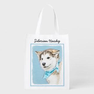 Sacola Ecológica Pintura do filhote de cachorro do rouco Siberian -
