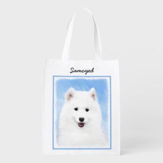 Sacola Ecológica Pintura do filhote de cachorro do Samoyed - arte