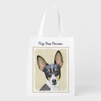 Sacola Ecológica Pintura do Fox Terrier do brinquedo - arte