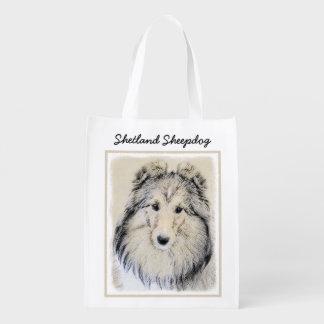 Sacola Ecológica Pintura do Sheepdog de Shetland - arte original