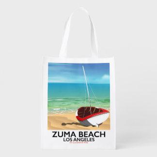 Sacola Ecológica Poster da praia do trilho do LA da praia de Zuma