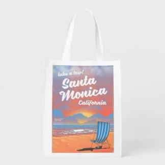 Sacola Ecológica Poster da praia do vintage de Santa Monica