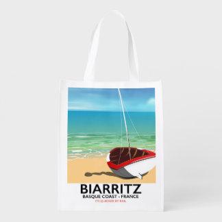 Sacola Ecológica Poster de viagens da praia de Biarritz France