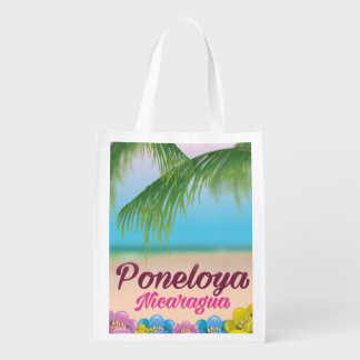 Sacola Ecológica Poster de viagens da praia de Poneloya Nicarágua
