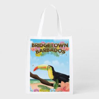 Sacola Ecológica Poster de viagens de Bridgetown Barbados Toucan