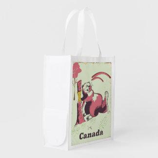 Sacola Ecológica Poster de viagens do castor do vintage de Canadá