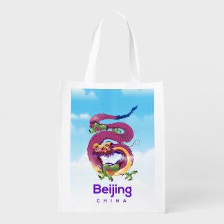 Sacola Ecológica Poster de viagens do dragão de Beijing China