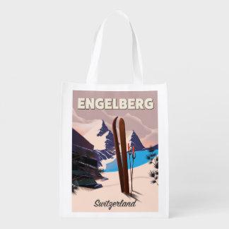 Sacola Ecológica Poster de viagens do esqui da suiça de Engelberg