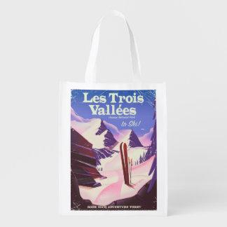 Sacola Ecológica Poster de viagens do esqui de Les Trois Vallées