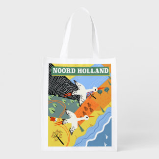 Sacola Ecológica Poster de viagens do estilo do vintage de Noord